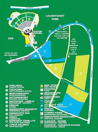 Mapka areálu a okolí