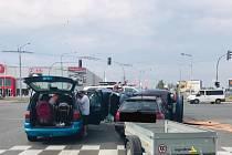 Při hromadné nehodě na Borských polích se zranili čtyři lidé.