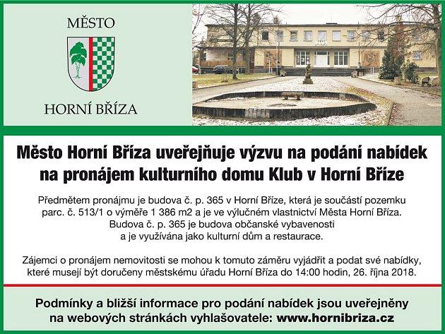 Město Horní Bříza uveřejňuje výzvu k pronájmu.