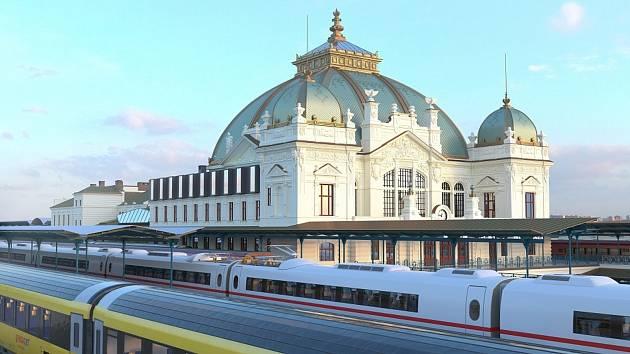 Vizualizace plzeňského hlavního nádraží po jeho rekonstrukci.