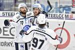 Utkání 4. kola hokejové extraligy: HC Vítkovice Ridera - HC Škoda Plzeň, 23. září 2018 v Ostravě. Na snímku radost plzeňských hráčů, Guláš Milan, Kaňák Lukáš a Stach David.