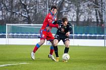 V jediném přípravném zápase porazili fotbalisté Viktorie Plzeň doma lídra druhé ligy Hradec Králové (5:2). Na snímku bojuje s jedním ze soupeřů záložník Pavel Bucha.