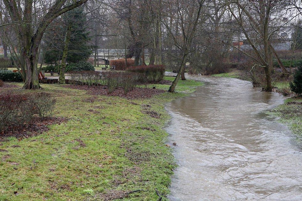 zvednutá hladina řek potok Třemošenka Třemošná