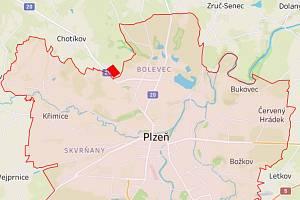 Těsně za hranicí, kam smí Plzeňané, se od pondělí ocitne hypermarket Globus. (Na mapce červeně označen)
