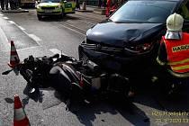 Nehoda na Chodském náměstí v Plzni.
