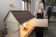 Veronika Gabrielová vytvořila model domu z reálných stavebních materiálu, na kterém lze zaznamenat úniky tepla pomocí termokamery.