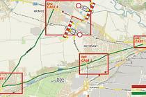 Mapa objížďky Chebské ulice.