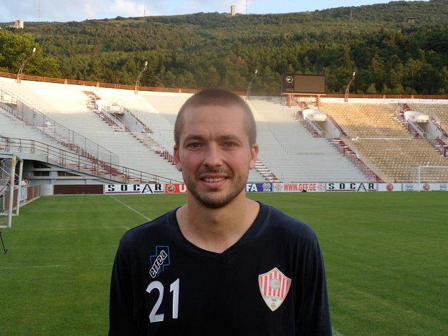 Bývalý fotbalista Viktorie Plzeň Dimitri Tatanašvili na středečním večerním tréninku klubu Metalurgi Rustavi