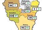 Počet nemocných a uzdravených v Plzeňském kraji
