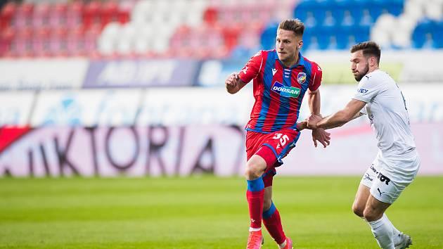 Plzeňský stoper Filip Kaša při sobotním utkání s Příbramí (3:3).
