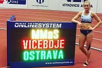 Denisa Majerová na lednovém mistrovství Moravy a Slezska v Ostravě, kde dokončila pětiboj na pátém místě a poprvé překonala svůj krajský rekord.