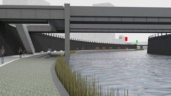Na náplavku kRadbuze se bude chodit po vysouvacích schodech zavěšených na současné lávce přes řeku.