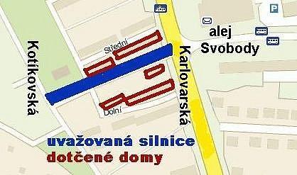 Uvažovaná silnice vedoucí lokalitou Berlín