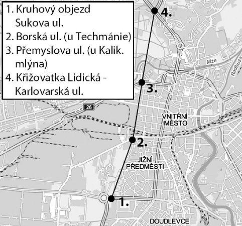 Průtah Plzní má vést ze Sukovy ulice na Borech přes Borskou ulici a územím kolem Kalikovského mlýna na Karlovarskou třídu klékařské fakultě