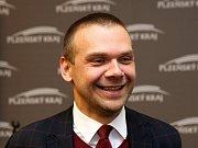 Představení nové koalice, která bude vládnout Plzeňskému kraji. Na snímku Martin Baxa