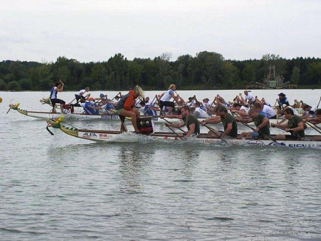Na víkendovém mistrovství České republiky dračích lodí se mimořádně dařilo i plzeňské posádce. V závodě na půlkilometrové trati, ze kterého je náš snímek, dojeli na šestém místě, na 200 metrů jim těsně unikla medaile, když skončili čtvrtí.