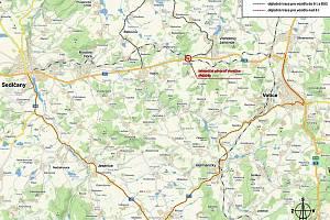 Vyznačení objízdných tras kvůli uzavřenému přejezdu u Voračic.