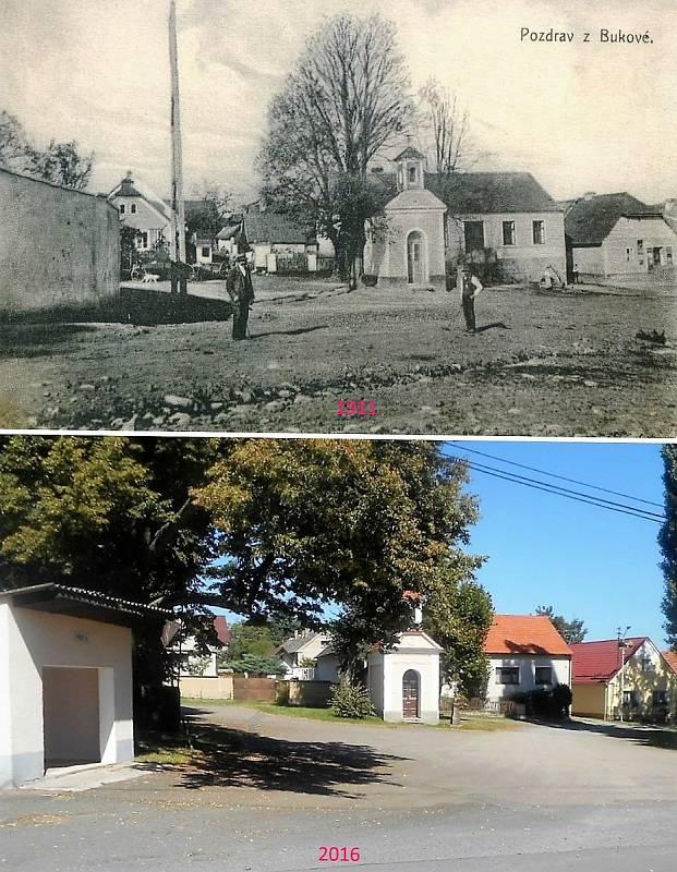 Buková u Příbramě - Kaplička a za ní hostinec U Hesů, vpravo obchod smíšeným zbožím Václava Lojína, dnes obojí jen bývalé.
