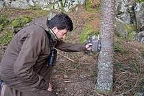 Martin Tomáš při kontrole fotopastí v CHKO Brdy.