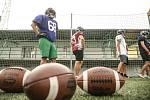 """Typické """"šišaté"""" míče pro americký fotbal."""