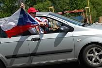 Fanoušci českých hokejistů v Příbrami.