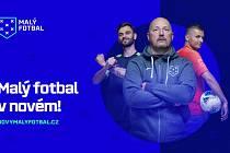 Nová vizuální identita malého fotbalu. Tvar znaku symbolizuje vlaječku, šest křížků uvnitř pak rozestavení hráčů.