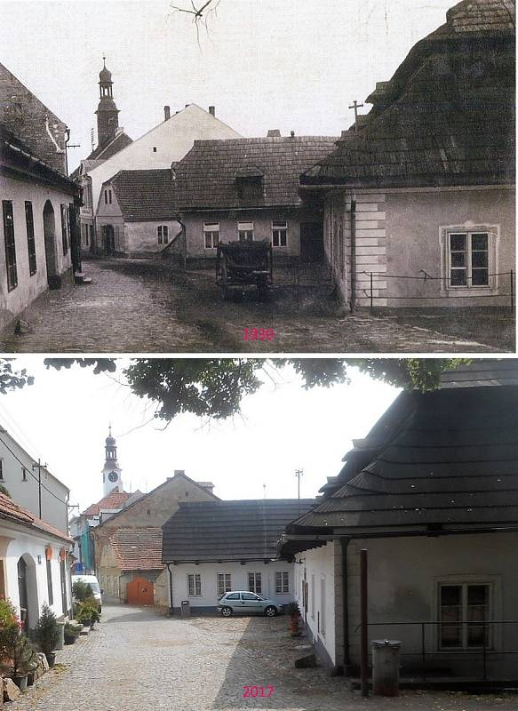 Rožmitál pod Třemšínem - Ulice Ing. Lízla od zámku směrem k náměstí.