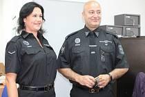 Na služebně Městské policie v Sedlčanech. Na snímku vpravo velitel Petr Krch.