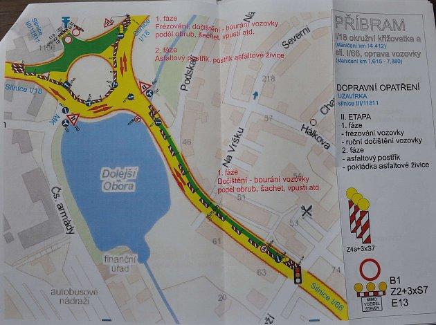 Plán oprav v okolí kruhového objezdu u Dolejší Obory