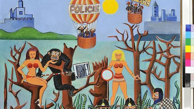 Tajná policie, olej na plátně, 1978