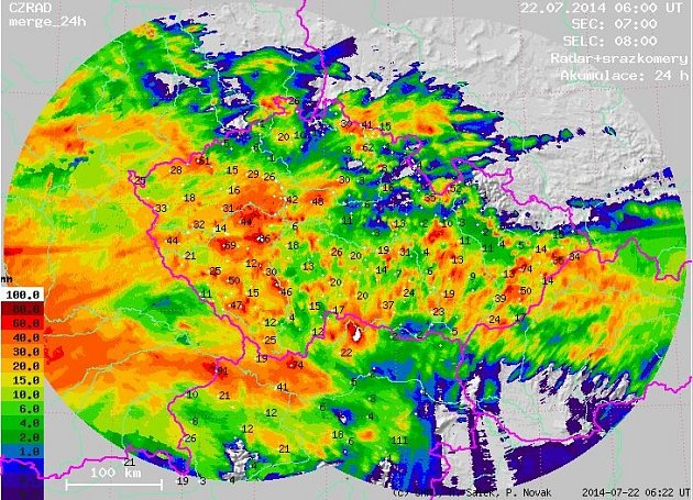 Srážky na radaru ČHMÚ.