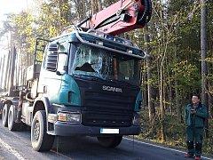 Nehoda kamionu se srncem na Sedlčansku.