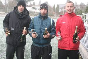 Nejlepší hráči sezony (zleva): Lukáš Rom, Michal Macek a Václav Venta.