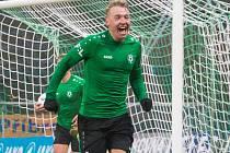 Euforie. Stanislav Vávra slaví gól do sítě Mladé Boleslavi, kterým rozhodl o výhře Příbrami 2:1.