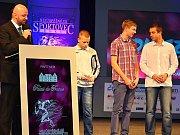 Vyhlášení ankety Nejúspěšnější sportovec Příbramska roku 2013. Trio nejlepších jednotlivců mládeže (zleva): Ondřej Topič, Lukáš Kvasnica a František Puc.