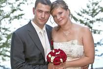 """Iva Bejčková a Michal Dušák si řekli své """"ano"""" 18. srpna 2012 na zámku Orlík."""