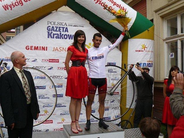 Jiří Šíbl na stupních vítězů po etapovém závodě v Polsku.