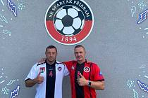 Miroslav Slepička (vlevo) a Tomáš Zápotočný v dresech Spartaku Příbram.