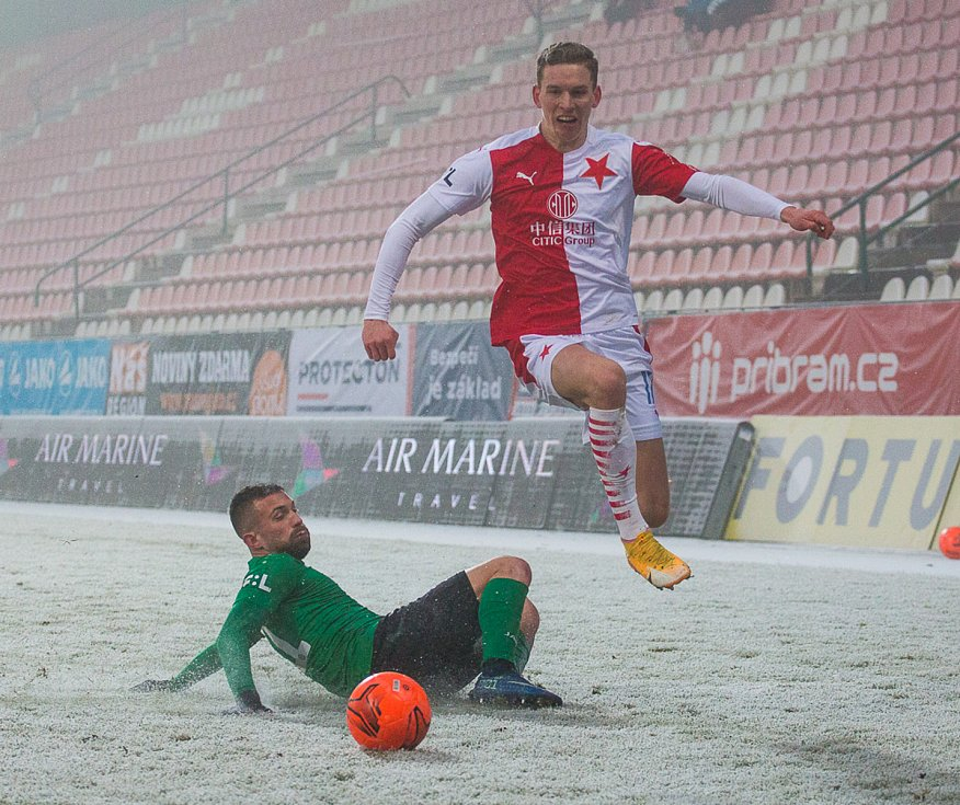 Ze zápasu 18. kola FORTUNA:LIGY 2020/2021 1. FK Příbram - SK Slavia Praha.