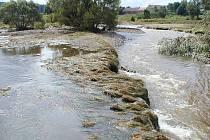 Trhové Dušníky při povodních v roce 2002.