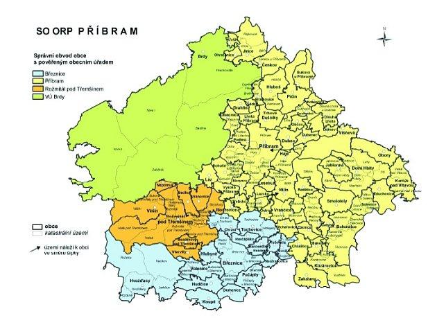 Správní obvod ORP Příbram zahrnuje 74 obcí a 1 vojenský újezd, z toho 1 obec se statutem městys a 3 města.