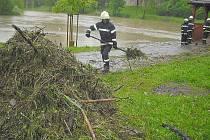 Dobrovolní hasiči Březové Hory u Hořejší Obory. Čistili síto pod altánem.