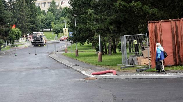 Stav silnic v Březnici 29. července.