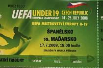 Vstupenka na zápas Španělsko - Maďarsko.