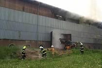 Požár seníku v Kvasejovicích.