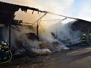 Zásah hasičů při požáru zemědělské haly ve Volenicích. Zvířatům ustájeným vedle se nic nestalo.