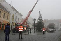 Zaměstnanci technických služeb pomocí jeřábu a pod dohledem městské policie postavili vánoční strom na náměstí TGM v Příbrami.