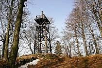 Vrchol Třemšín (827 metrů nad mořem).