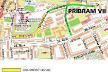 MAPKA s ulicemi, kde žlutě je vyznačený provoz, zeleně jednosměrný.