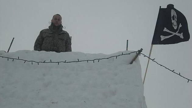 Hrad ze sněhu v Bubovicích.